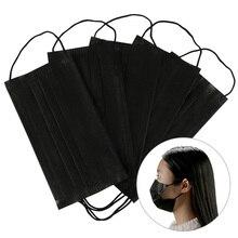 10/20/50/100 шт маска для лица Одноразовые черные хлопковые лицевая маска маски на ушных петлях