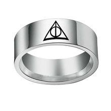 HP Escola Mágica Luna Triângulo Anel Horcrux кольцо Anillos 1pc Atacado Moda Jóias Anéis de Aço Inoxidável para Homens