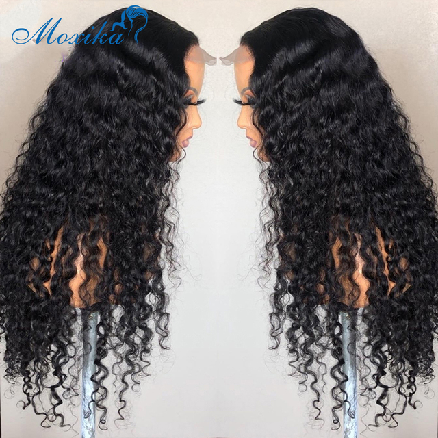 Deep Wave Closure Wig Human Hair Lace Frontal Wigs 180 Lace Front Wig Pre Plucked Bleached Knots Wigs Remy 4x4 Frontal Lace Wig 2