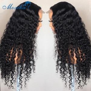 Парики с глубоким волнистым закрытием, парики без клея, 4x4, парики для закрытия, 150 плотность, Remy, передний кружевной парик, перуанские волосы,...