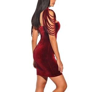 Image 3 - Frauen Liebsten Samt Bodycon Kleid Abend Party Neue Jahr Outfit High Neck Geschichteten Quaste Backless Elegante Sexy Wein Roten Kleid