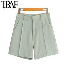 TRAF-Pantalones Cortos rectos con bolsillos laterales para mujer, pantalón corto Vintage de cintura alta con cremallera, a la moda