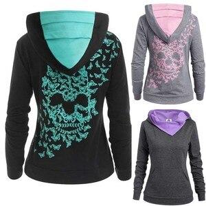 Womens Fashion Butterfly Skull Print Hoodie Sweatshirt Tops Sweatshirt(China)
