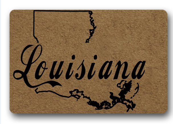 Funny Printed Doormat Non-slip louisiana map tive Designed Door Mat Entrance Floor 18x30inch
