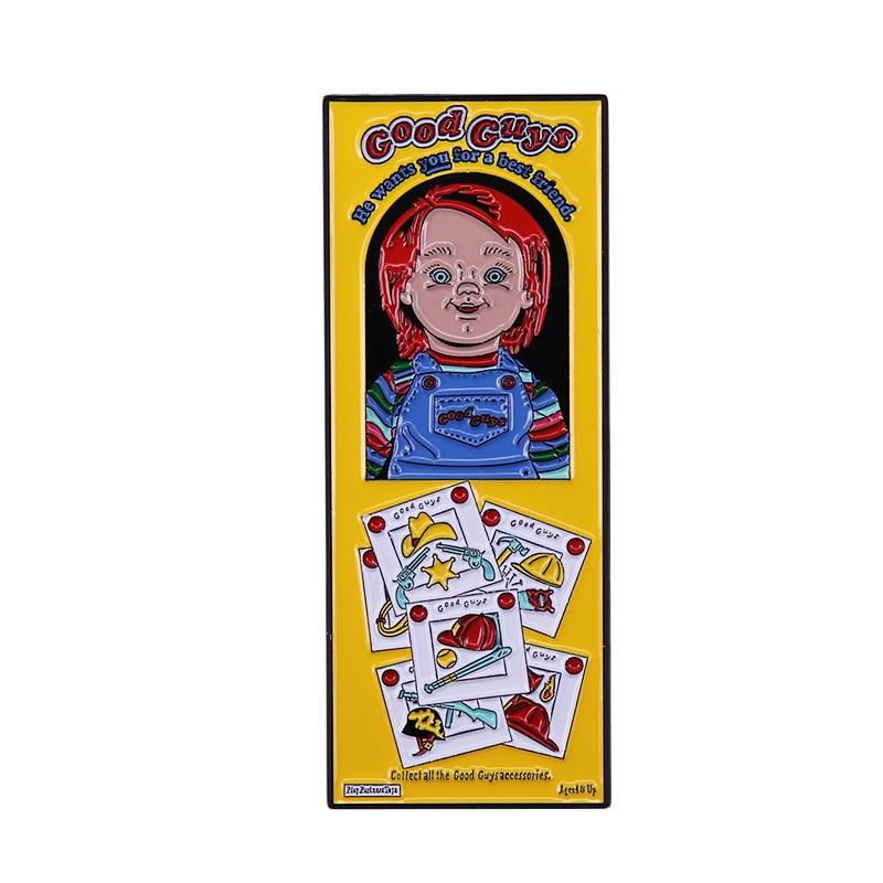 Детская игровая брошь хорошее парень кукла Чаки в коробке эмали штырь ужас душа значок