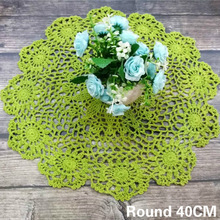 40CM Round Vintage Green Cotton 3D Flowers Table Cloth Crochet Doily Tea Cup Tablecloth For Christmas Wedding Banquet Decor Pad