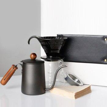 Juego de ollas de café de acero inoxidable, 200ML, diseños sencillos, boquilla...