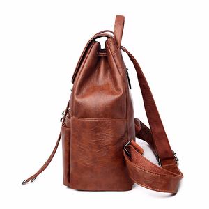 Image 2 - 2019 Women Leather Backpacks High Quality Sac A Dos Female Large Capacity School Backpack Leather Ladies Solid Casual Daypack