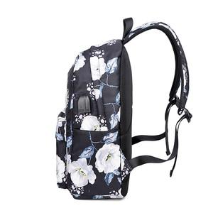 Image 4 - OKKID sacs décole pour filles rose noir fleur sac à dos enfants sac décole ensemble enfants impression florale école sac à dos enfant cadeau