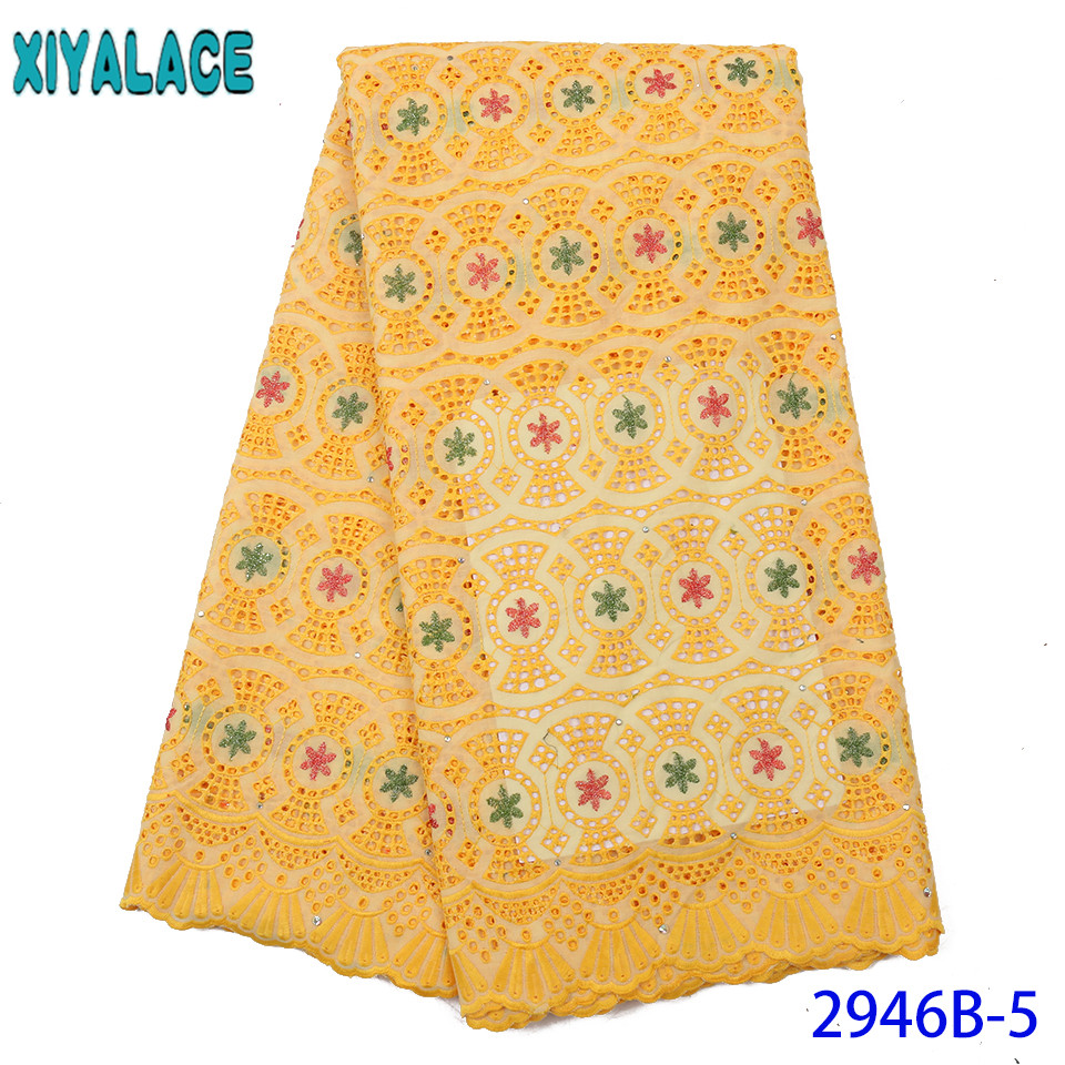 Yellow Lace Fabric Hot Sale Dry Lace Cotton Lace Fabric Swiss Voile Lace Fabric Hollow Out Design KS2946B-5