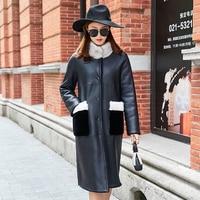 Natural Real Fur Coat Female Genuine Leather Jacket Mink Fur Collar 100% Wool Jacket Winter Sheepskin Coat Women Clothes 2019