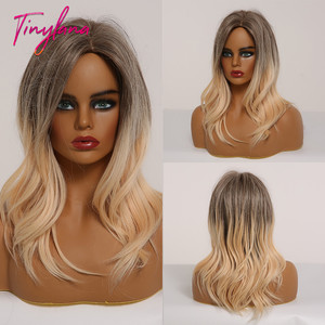 Image 5 - TINY LANA Medium Wavy Synthetic Hair Wigs Ombre Black Brown Gray Blonde for African American Women Middle Part Cosplay Wigs