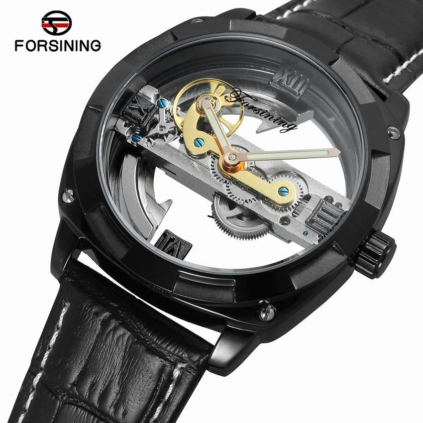 FORSININGFashion Sport Luxury Golden Automatic Mechanical Men Watch New Leather Skeleton Wristwatch Top Brand