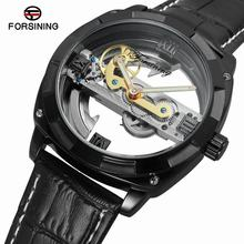 FORSININGFashion Sport Luxury Golden Automatic Mechanical Men Watch New Leather Skeleton Wristwatch Top Brand