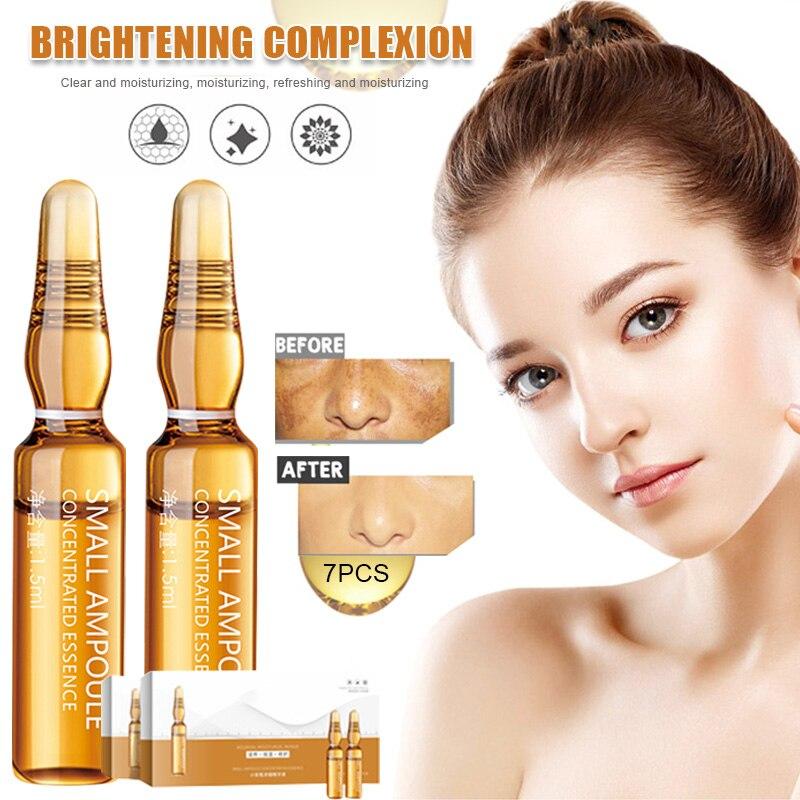 1.5ml*7pcs Hyaluronic Brightening Skin Face Serum Ampoule Moisturizing Nourishing Lighten Melanin Whitening Essence