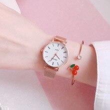 Quartz Watches Mesh-Strap Rose-Gold Minimalist Ladies Steel Qualities