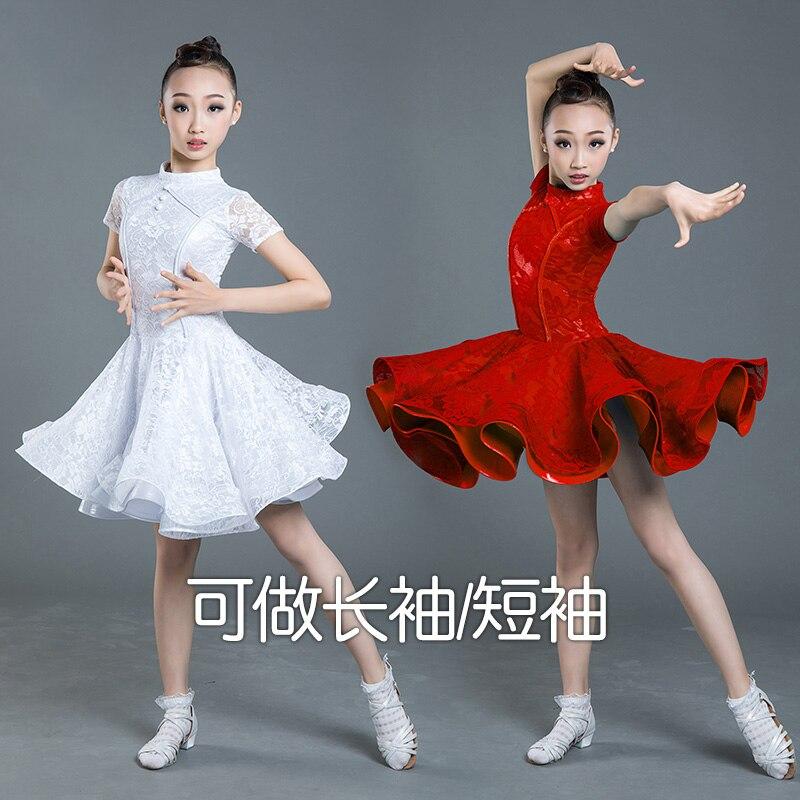 Lace Children'S Latin Dance Costume Kids National Dance Skirts Ballroom Competition Dresses Latin Dance Dress For Girls SL2333