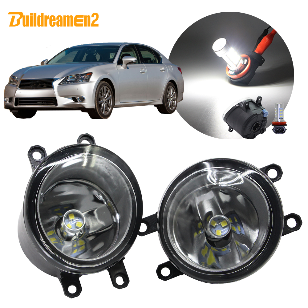 Buildreamen2 Car H11 Fog Light Lampshade + Bulb Daytime Running Light 12V For <font><b>Lexus</b></font> <font><b>GS350</b></font> GS460 GS450h 2011 2012 2013 <font><b>2014</b></font> 2015 image