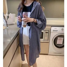 2019 New Casual Long Sleeve Turn-down Collar Shirts Woman Vintage Plaid Shirt Loose Fashion Sunscreen Long Blouse Hooded Coat women autumn casual simple all match loose blouse long sleeve plaid long turn down collar shirts