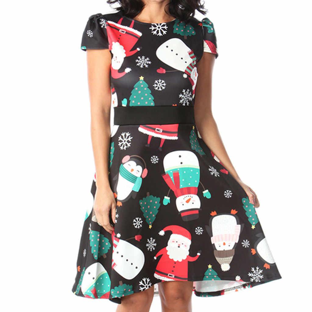 عيد الميلاد فستان مُزين بطباعة المرأة الأزياء س الرقبة قصيرة الأكمام هايت الخصر الأميرة فستان الشمس عيد الميلاد ملابس للحفلات رداء فام
