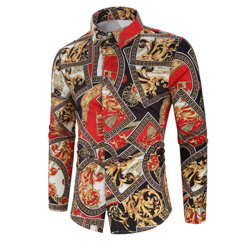 Hawaiian Style Men's Long Sleeve Print Vacation Plus Size Casual Stand Collar Button Loose Shirt Apparel Comfort Tops 1