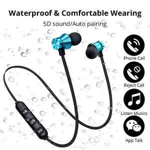 Image 1 - Беспроводные наушники, Bluetooth гарнитура, магнитные наушники, водонепроницаемые спортивные наушники с микрофоном для iPhone, Sony, Xiaomi, Meizu, игровая гарнитура