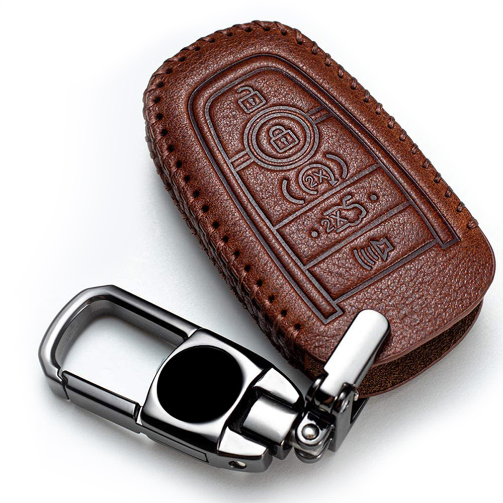 Genuine Leather Car Key Fob Cover For Ford 2018 2019 Fusion F150 F250 F350 Edge Explorer Escape Mustang 5 Buttons Remote Keyless