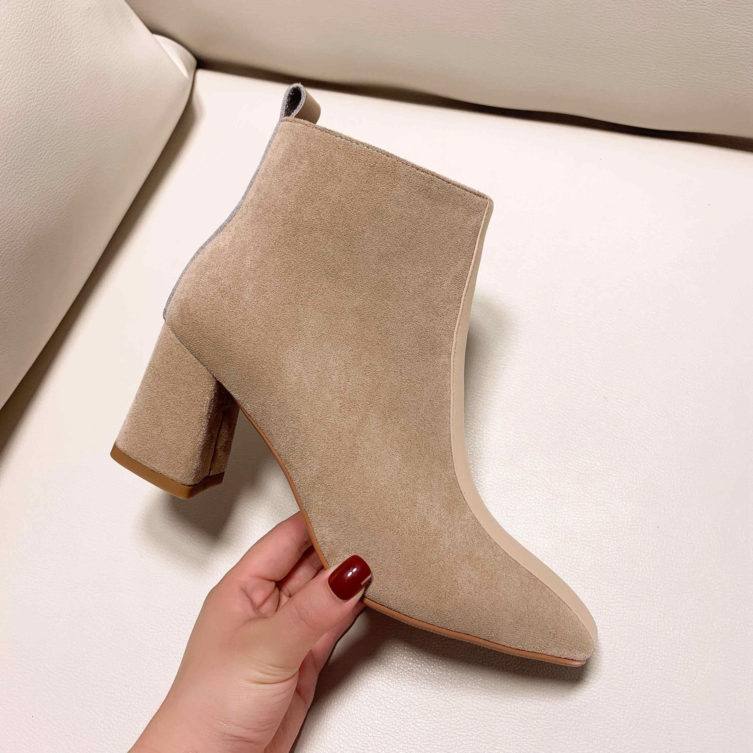 2020 yüksek kaliteli akın kare ayak fermuar yüksek topuklu kadın yarım çizmeler katı pist tatlı ofis bayan sıcak kış ayakkabı tutmak l11