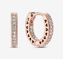 925 prata esterlina brinco assinatura rosa espumante coração hoop brincos para festa de casamento feminino pandora jóias