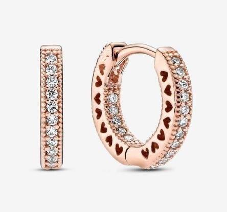 Женские серьги-кольца из серебра 925 пробы, со сверкающим розовым сердцем