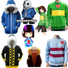 Костюм для костюмированной вечеринки Undertale Sans Frisk Chara Papyrus Fall, толстовка на молнии с капюшоном, куртка, свитер, спортивная одежда, уличная одежда