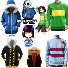 Undertale Sans Frisk Chara Papyrus Fell Cosplay Costume Zipper Hoodie Hooded Jacket Coat Sweater Sportswear Streetwear Top
