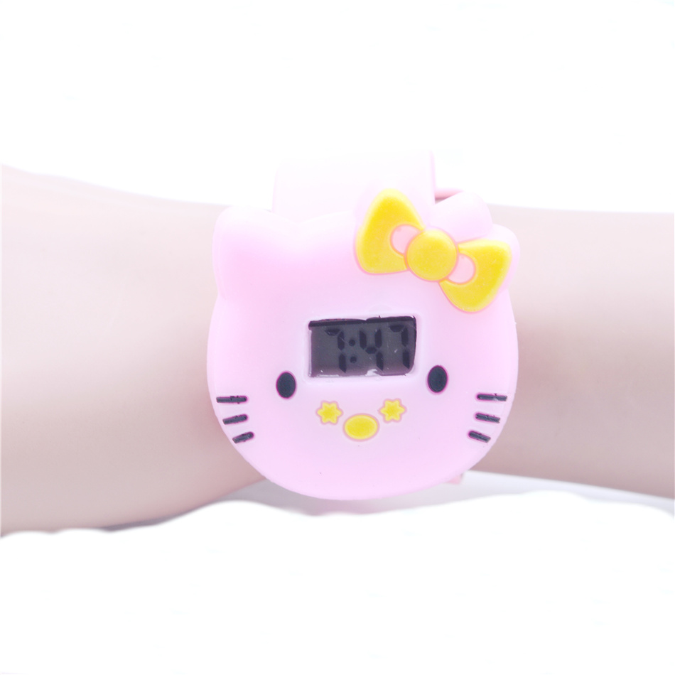 2020 Hot Sales Lovely Hello Kitty Cartoon Watch Children Girls Student Led Digital Watch Silicone Strap Kids Watch Jelly Color