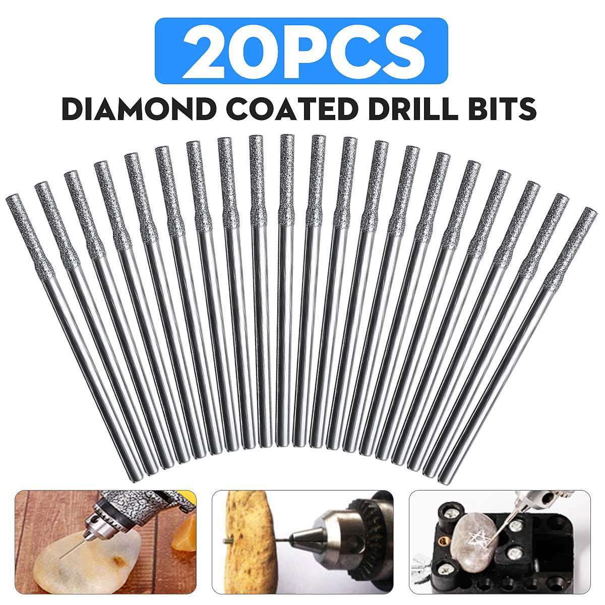 20PCS 2mm Diamond Coated Hole Saw Solid Drill Bit For Glass Tile Ceramic Marble Power Tools