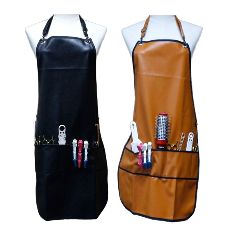PU Leather Hairdressing Apron Waterproof Salon Tools Storage Work Clothes Hair X7YB