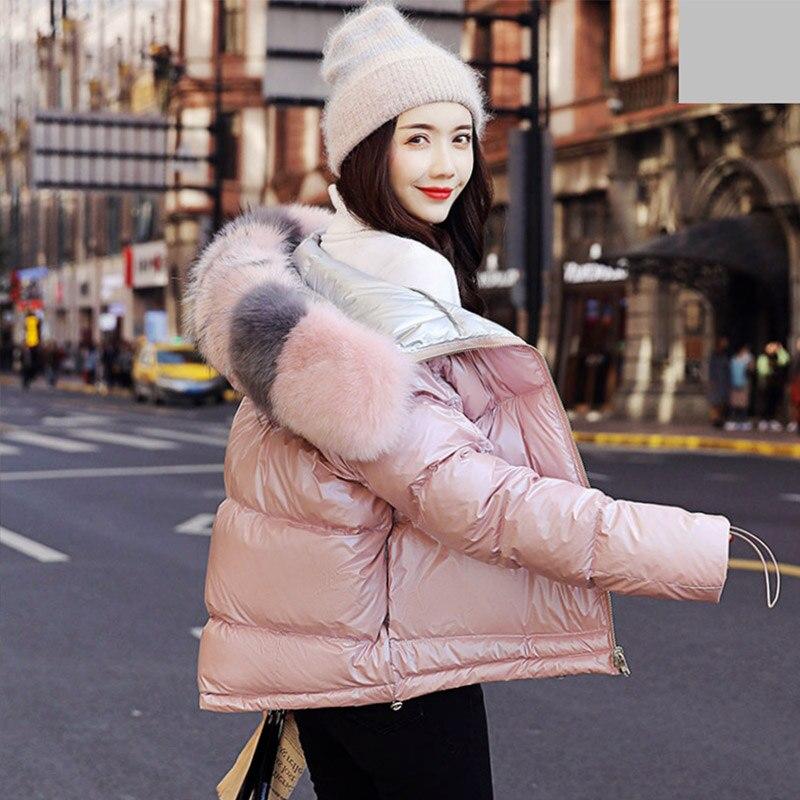 Хлопковый пуховик Женское пальто воротник из искусственного меха 2019 зимнее свободное короткое пальто пуховик из белого утиного пуха толст