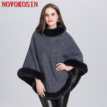 SC316 5 Colors 2019 Winter Plus Velvet Warm Knitted O Neck Faux Fox Fur Sweater Women Capes Solid Poncho Plus Size Pullover Coat цена