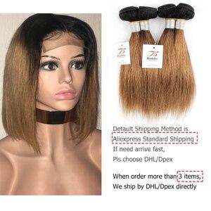 Image 5 - Bobbi Collection 4/6 Bundle avec fermeture 50g / pc Cheveux blonds châtains brésiliens avec fermoir en dentelle Cheveux humains droits et remy