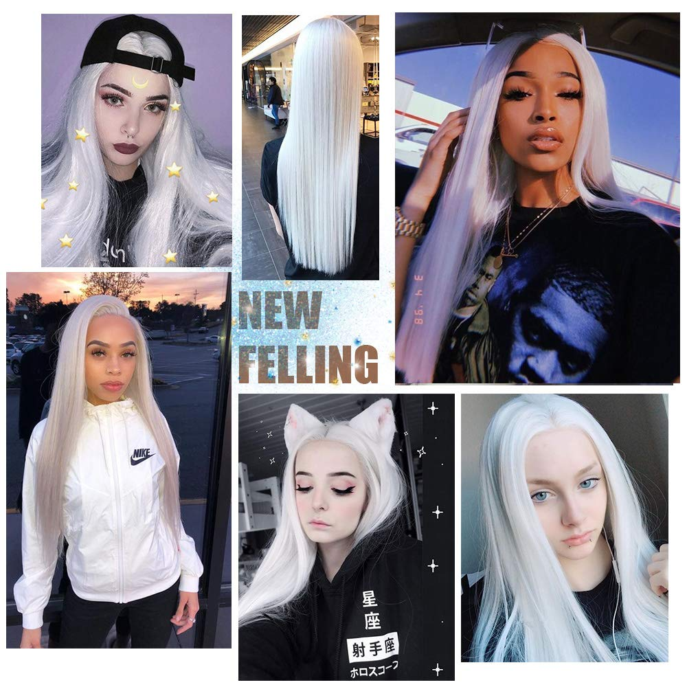 Image 5 - AISI HAIR White Synthetic Lace Front Wig Long Straight Wigs For Women 24Inch Middle Part Black Red Cosplay or Party Wigs 13X4Synthetic Lace Wigs   -