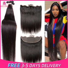 Malaika Hair 38 40 Inch Straight Brazilian Hair Bundles With 13x4 Frontal Human Hair Bundles With Closure Remy Hair Extension