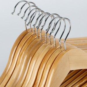Image 5 - 10pcs עץ מלא קולב החלקה קולבי בגדי קולבי חולצות סוודרים שמלת קולב ייבוש מתלה לבית