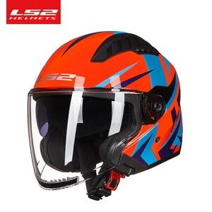 Image 3 - Ban Đầu LS2 COPTER Retro Moto Rcycle Mũ Bảo Hiểm Có Hai Ống Kính Xe Tay Ga Người Phụ Nữ Vintage Capacete Ls2 Of600 Mở Mặt Casco moto