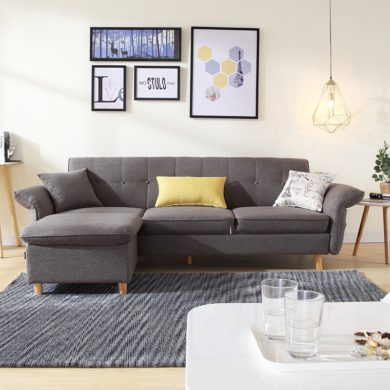US $399.0 |Modern Nordic Style Fabric Sofa Two Three Seater Apartment  Emulsion Filler Small Folding Simple Living Room Sofa Set-in Living Room  Sofas ...
