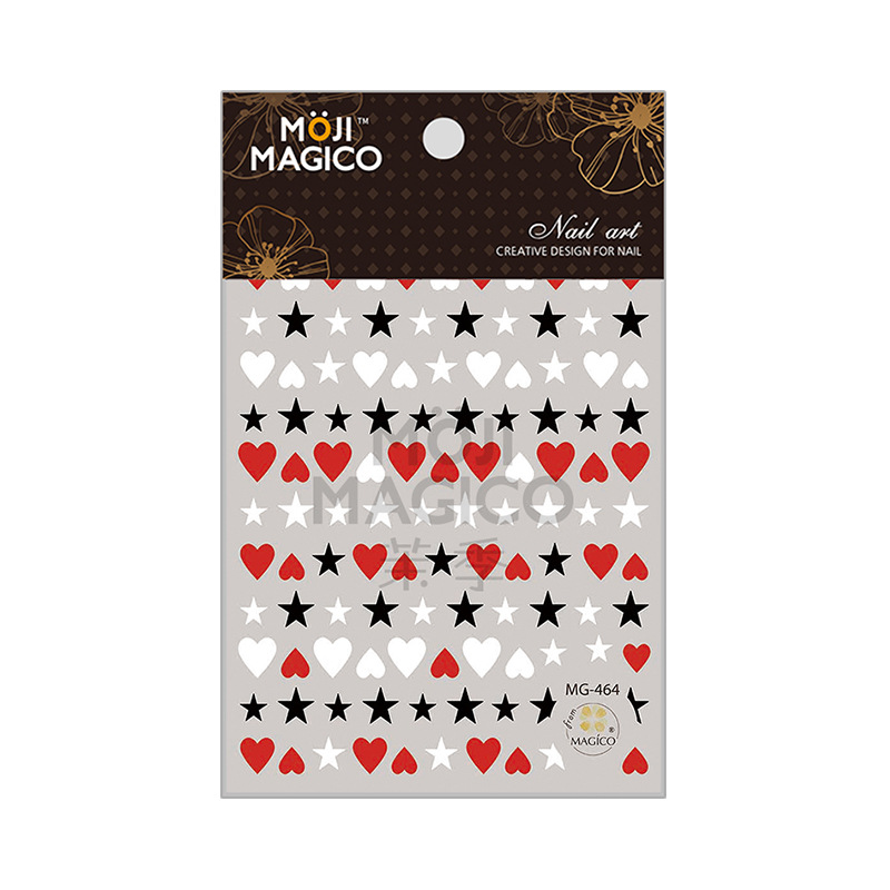 New Products Wholesale 2019 Magico Ultra-Thin Gum Nail Sticker Nail Ornament 464 Red Peach Heart