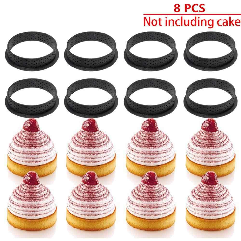 8Pcs Tartแม่พิมพ์แหวนMousseวงกลมตัดครัวตกแต่งขนมฝรั่งเศสDIYเค้กแม่พิมพ์Perforated Non Stick Bakewareเค้กเครื่องมือ