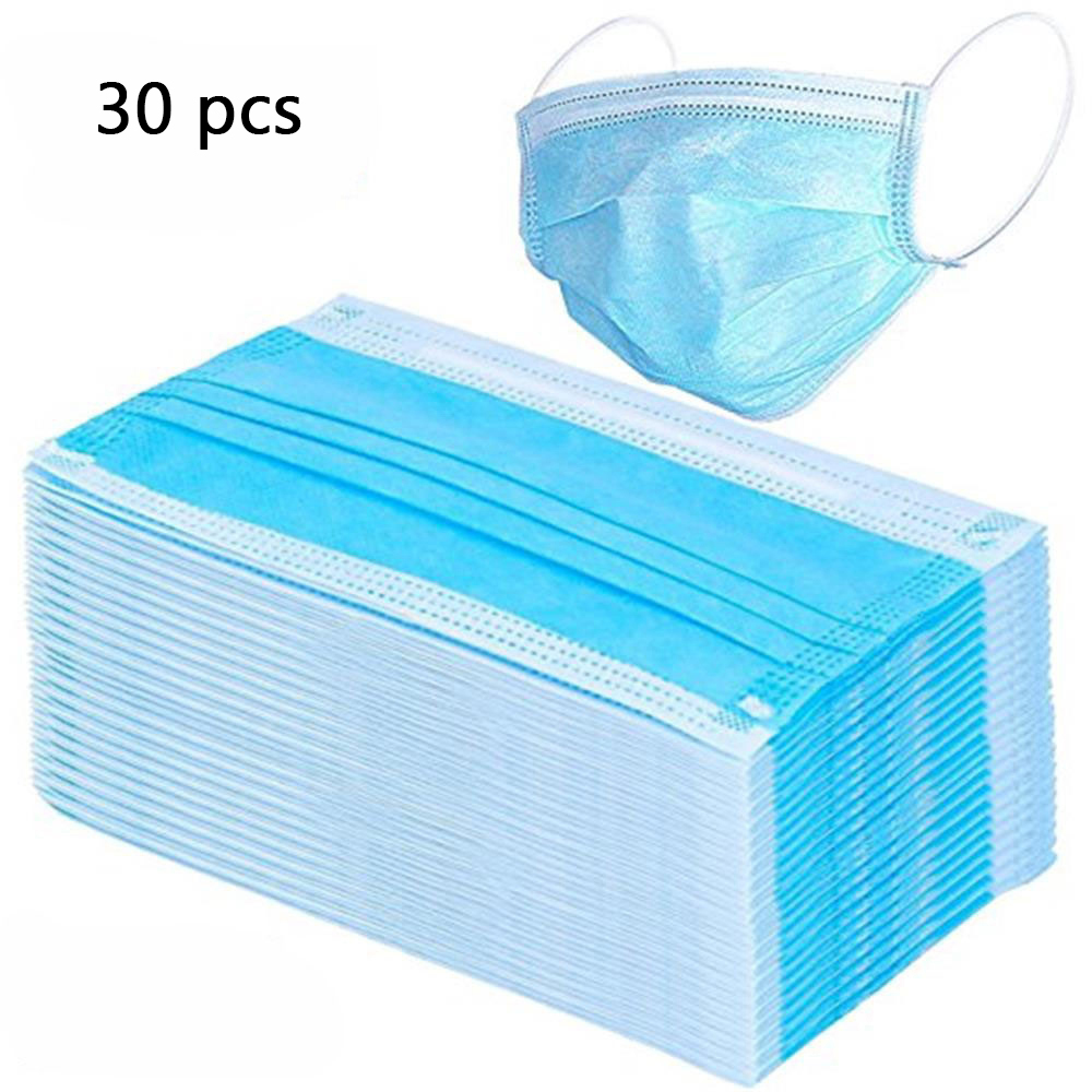 30Hot-Sale-100PCS-Disposable-Non-Woven-Mask-Three-layer-Filter-For-Unisex-Anti-dust-Mouth-Nose