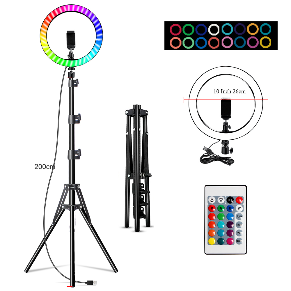 H91ba1f19984c4b4f86895f5777547e44V 10 Inch Rgb Video Light 16Colors Rgb Ring Lamp For Phone with Remote Camera Studio Large Light Led USB Ring 26cm for Youtuber