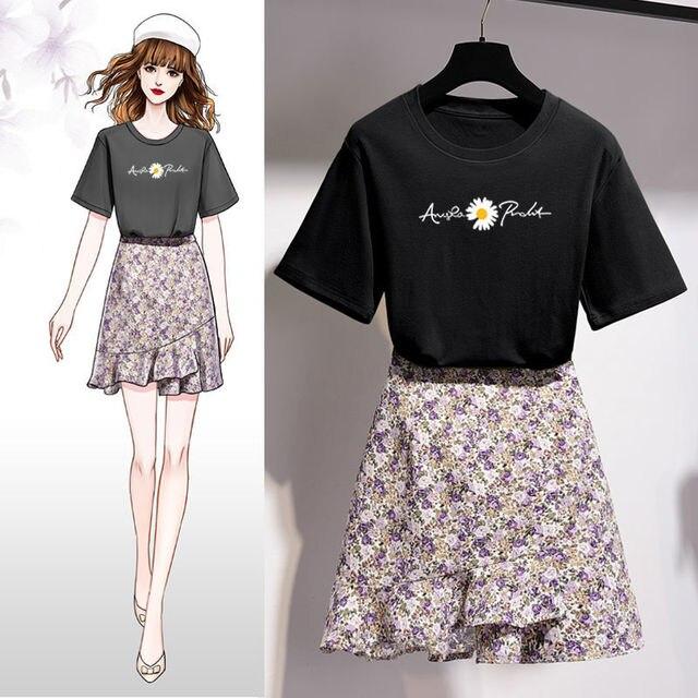 Girls Korean Sweet Daisy Print T-shirt Skirts Set Women Summer Cozy Cotton Short Sleeve Mini Dress Suit 2021 Fashion Clothing 5