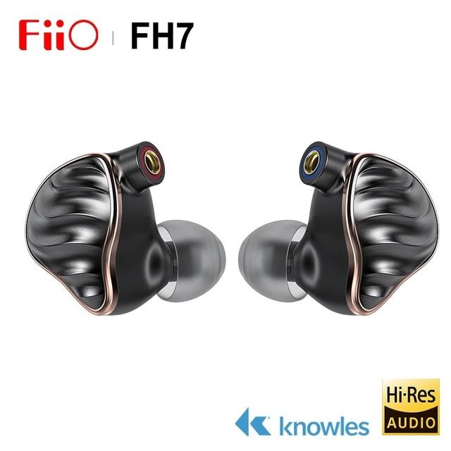 FIIO FH7 New Flagship 5 Hybrid Driver (4 Knowles BA + 13.6mm Dynamic) HIFI AUDIO In ear earphone IEM with MMCX Detachable Cable