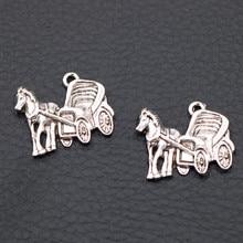 Carriage Pendant - Vintage Four-wheeled Charm DIY Metal Transportation Jewelry Tibetan Silver A1981 10pcs
